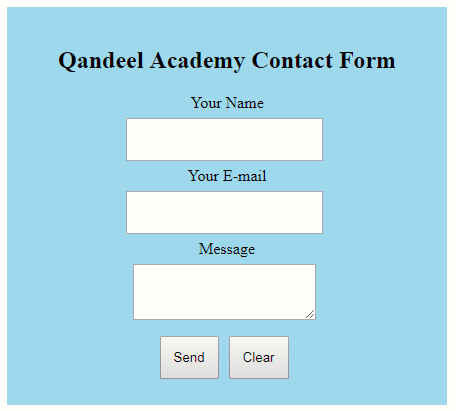 how to create a contact form in html